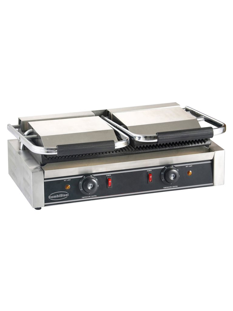 Contact Grill - Dubbel - H 19 x 58 x 41 CM - 2 x 230V - Combisteel - 7455.0460